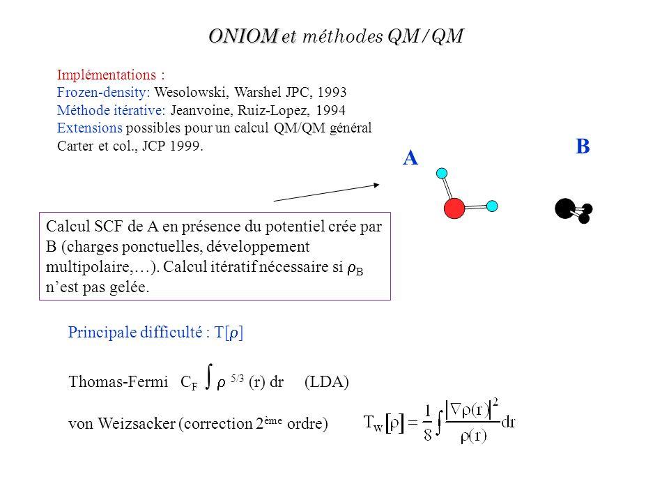 A B Principale difficulté : T[ ] Thomas-Fermi C F 5/3 (r) dr (LDA) von Weizsacker (correction 2 ème ordre) Calcul SCF de A en présence du potentiel cr
