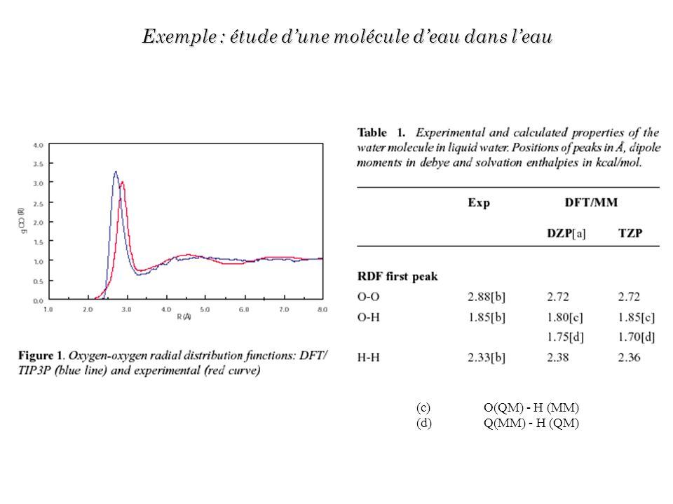 Exemple : étude dune molécule deau dans leau (c) O(QM) - H (MM) (d)Q(MM) - H (QM)