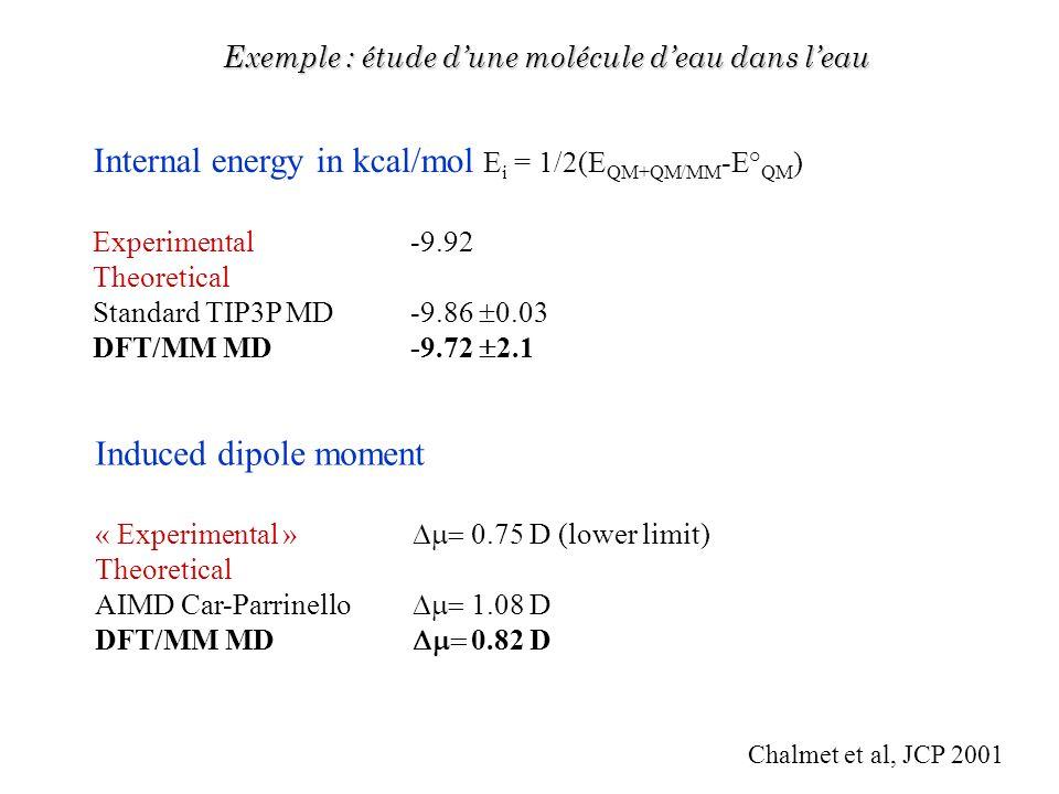Induced dipole moment « Experimental » 0.75 D (lower limit) Theoretical AIMD Car-Parrinello 1.08 D DFT/MM MD 0.82 D Exemple : étude dune molécule deau