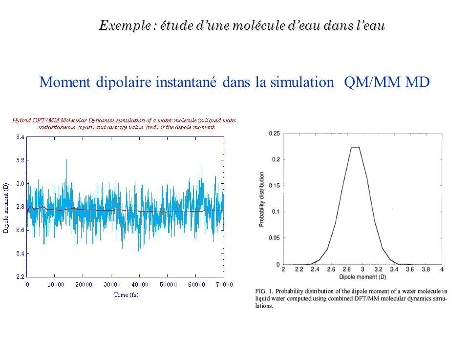 Moment dipolaire instantané dans la simulation QM/MM MD Exemple : étude dune molécule deau dans leau