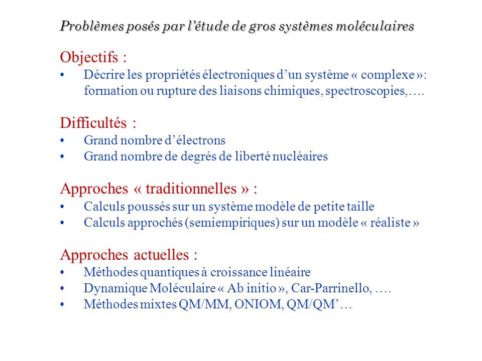 Problèmes posés par létude de gros systèmes moléculaires Objectifs : Décrire les propriétés électroniques dun système « complexe »: formation ou ruptu