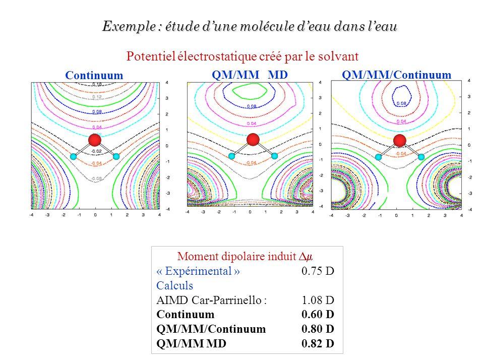 Potentiel électrostatique créé par le solvant Moment dipolaire induit « Expérimental » 0.75 D Calculs AIMD Car-Parrinello : 1.08 D Continuum 0.60 D QM