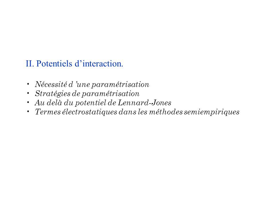 II. Potentiels dinteraction. Nécessité d une paramétrisation Stratégies de paramétrisation Au delà du potentiel de Lennard-Jones Termes électrostatiqu