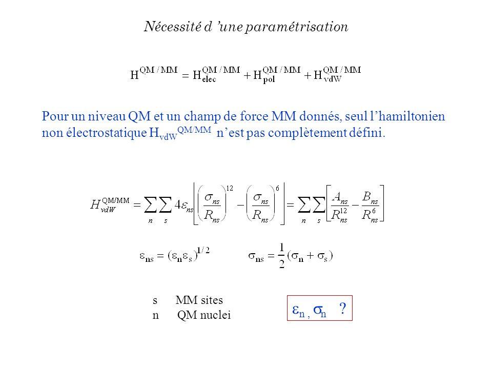 Pour un niveau QM et un champ de force MM donnés, seul lhamiltonien non électrostatique H vdW QM/MM nest pas complètement défini. s MM sites n QM nucl