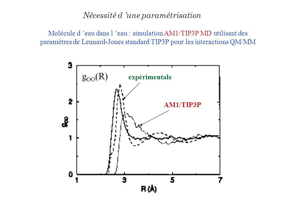 Molécule d eau dans l eau : simulation AM1/TIP3P MD utilisant des paramètres de Lennard-Jones standard TIP3P pour les interactions QM/MM AM1/TIP3P exp
