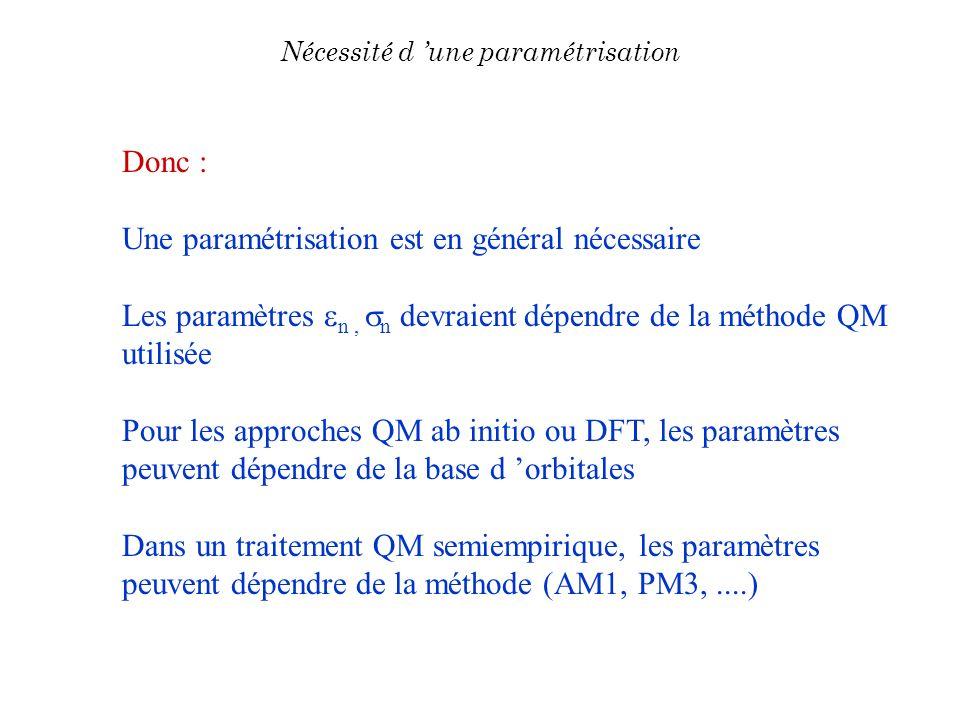 Donc : Une paramétrisation est en général nécessaire Les paramètres n, n devraient dépendre de la méthode QM utilisée Pour les approches QM ab initio