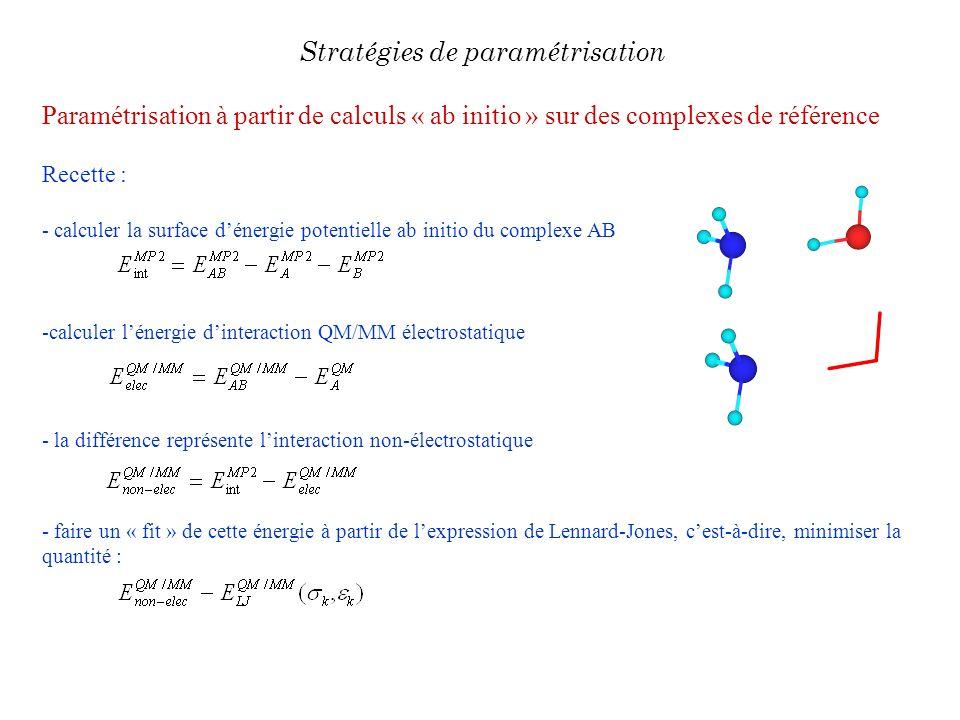 Paramétrisation à partir de calculs « ab initio » sur des complexes de référence Recette : - calculer la surface dénergie potentielle ab initio du com