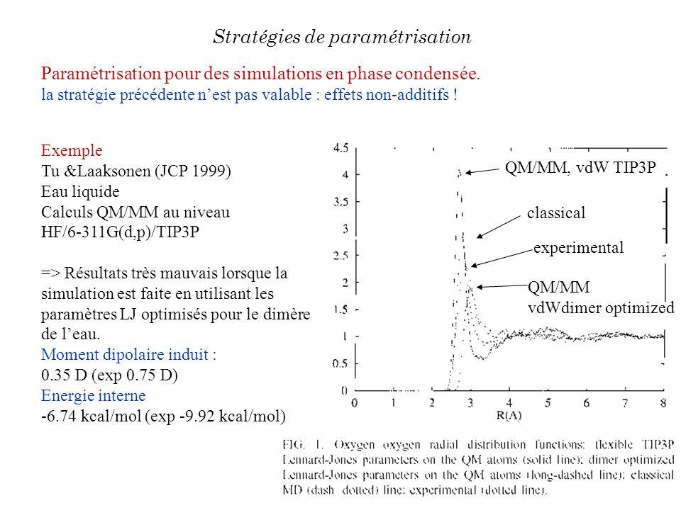 Paramétrisation pour des simulations en phase condensée. la stratégie précédente nest pas valable : effets non-additifs ! Stratégies de paramétrisatio