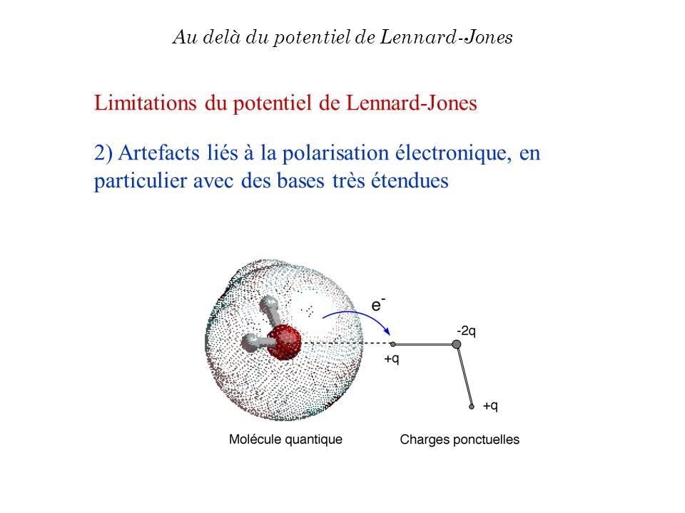 Au delà du potentiel de Lennard-Jones Limitations du potentiel de Lennard-Jones 2) Artefacts liés à la polarisation électronique, en particulier avec