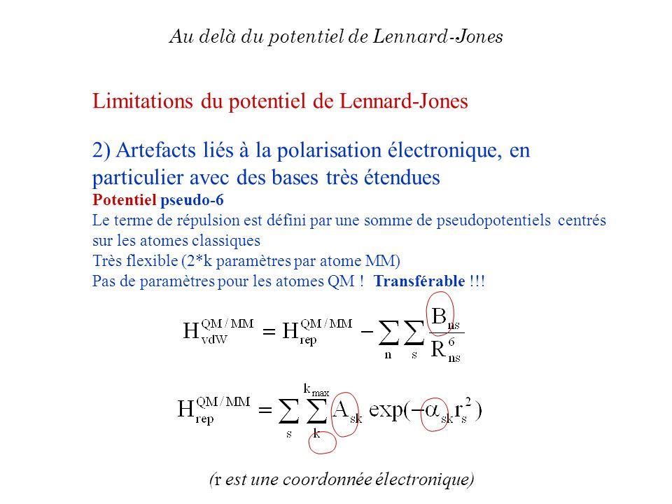 (r est une coordonnée électronique) Au delà du potentiel de Lennard-Jones Limitations du potentiel de Lennard-Jones 2) Artefacts liés à la polarisatio
