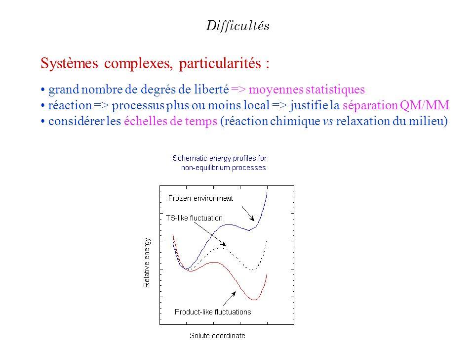 Systèmes complexes, particularités : grand nombre de degrés de liberté => moyennes statistiques réaction => processus plus ou moins local => justifie