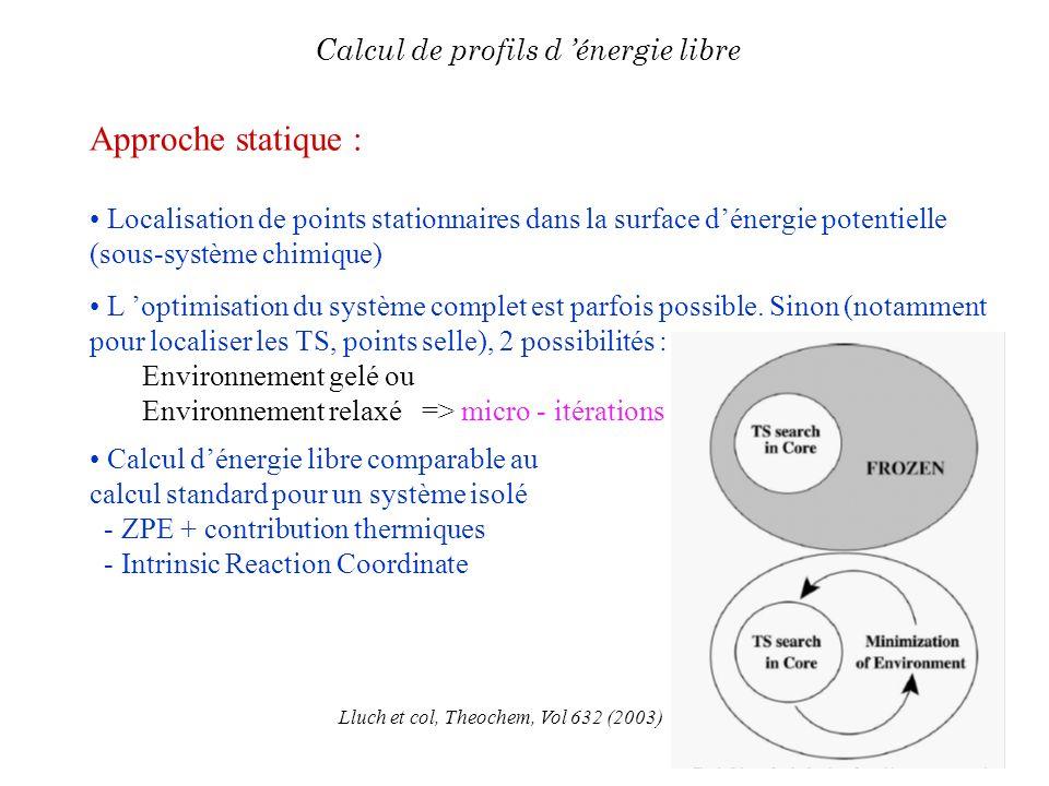 Approche statique : Localisation de points stationnaires dans la surface dénergie potentielle (sous-système chimique) L optimisation du système comple