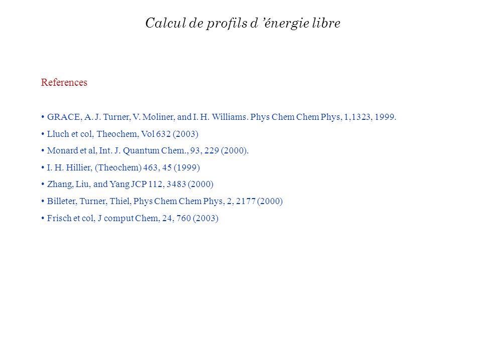 References GRACE, A. J. Turner, V. Moliner, and I. H. Williams. Phys Chem Chem Phys, 1,1323, 1999. Lluch et col, Theochem, Vol 632 (2003) Monard et al