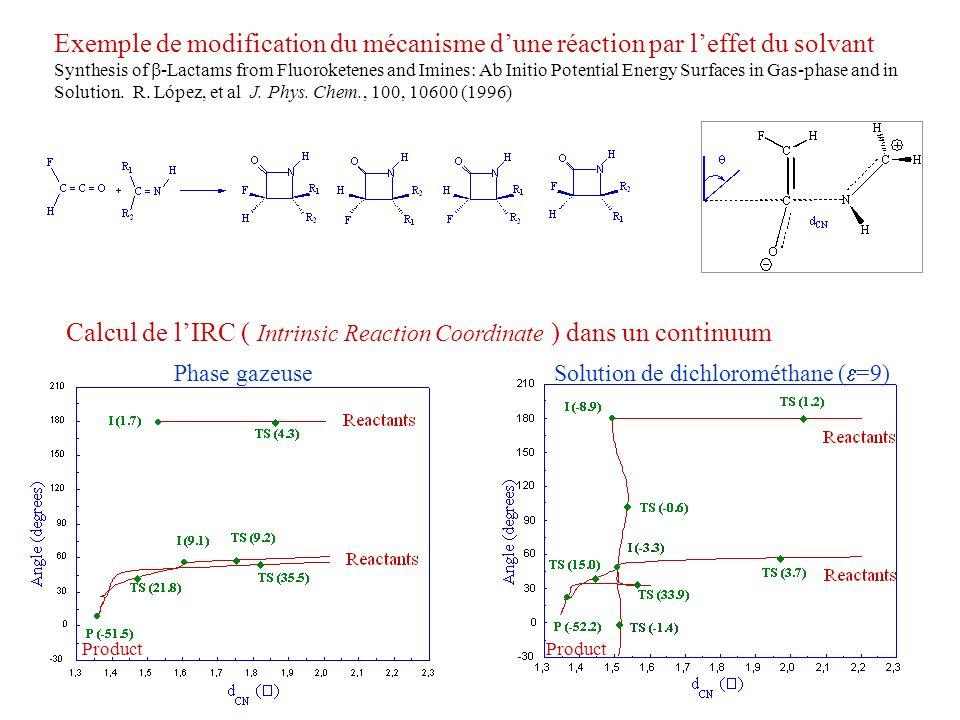 Phase gazeuse Solution de dichlorométhane ( =9) Exemple de modification du mécanisme dune réaction par leffet du solvant Synthesis of -Lactams from Fl