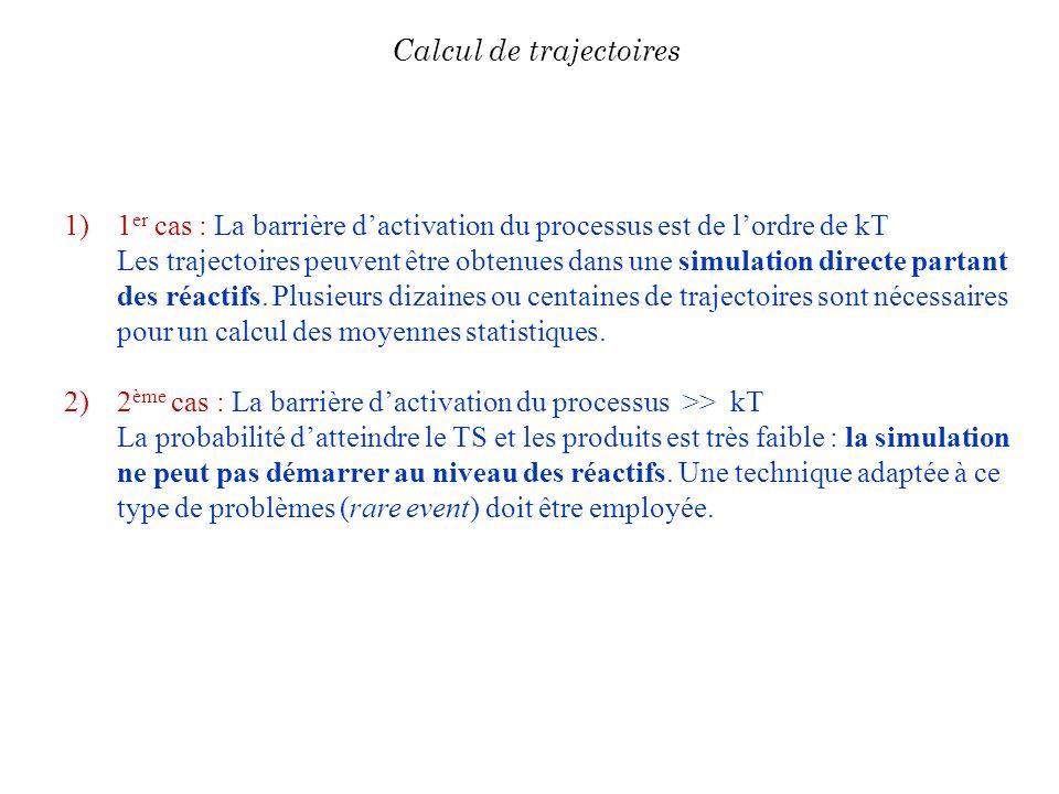 1)1 er cas : La barrière dactivation du processus est de lordre de kT Les trajectoires peuvent être obtenues dans une simulation directe partant des r