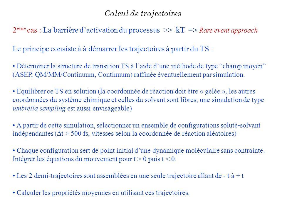 2 ème cas : La barrière dactivation du processus >> kT => Rare event approach Le principe consiste à à démarrer les trajectoires à partir du TS : Déte