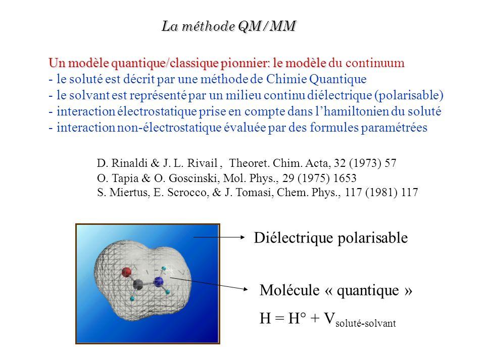 Un modèle quantique/classique pionnier: le modèle Un modèle quantique/classique pionnier: le modèle du continuum - le soluté est décrit par une méthod