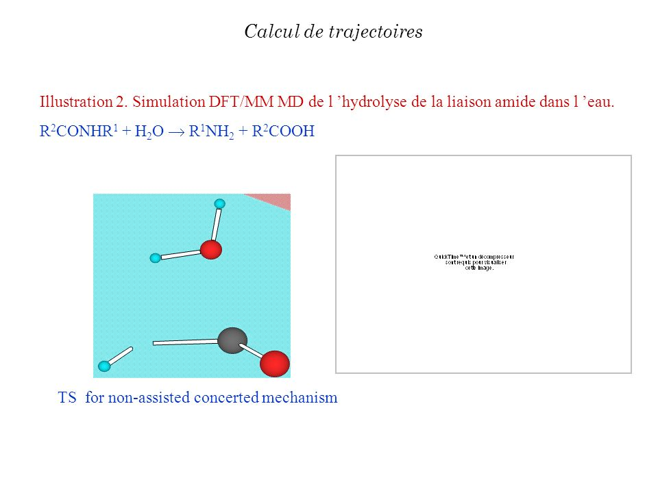 Illustration 2. Simulation DFT/MM MD de l hydrolyse de la liaison amide dans l eau. R 2 CONHR 1 + H 2 O R 1 NH 2 + R 2 COOH Calcul de trajectoires TS