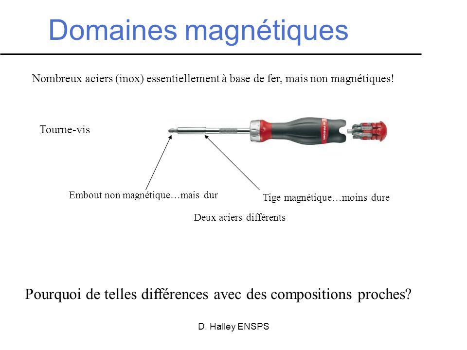 D. Halley ENSPS Domaines magnétiques Tourne-vis Nombreux aciers (inox) essentiellement à base de fer, mais non magnétiques! Embout non magnétique…mais