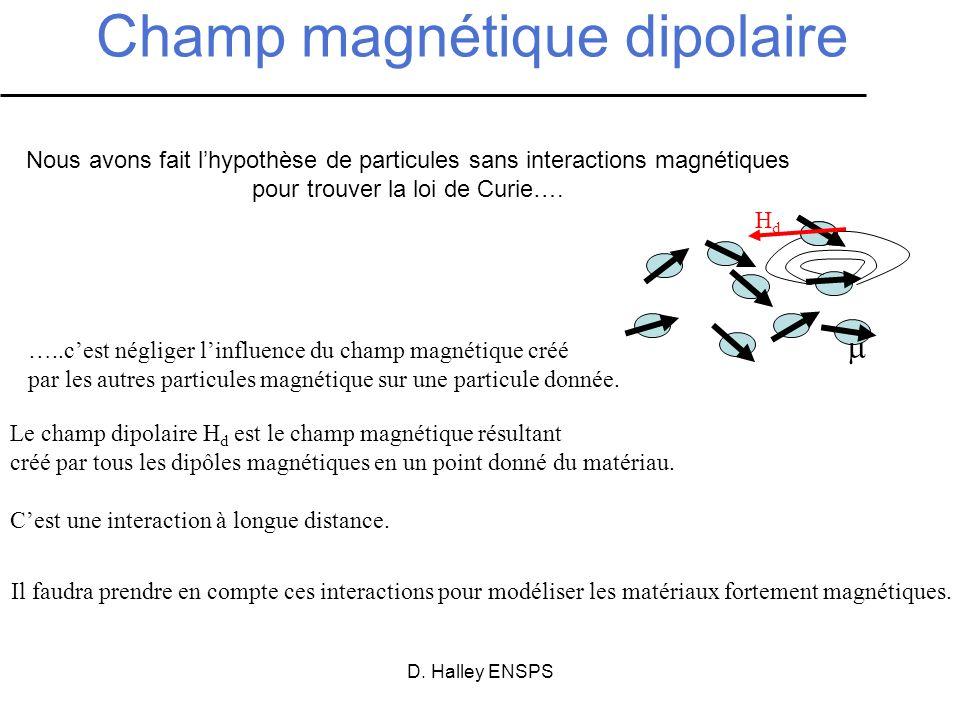 D. Halley ENSPS Champ magnétique dipolaire Nous avons fait lhypothèse de particules sans interactions magnétiques pour trouver la loi de Curie…. HdHd