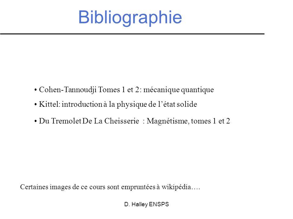 D. Halley ENSPS Bibliographie Cohen-Tannoudji Tomes 1 et 2: mécanique quantique Kittel: introduction à la physique de létat solide Du Tremolet De La C