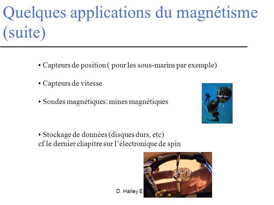 D. Halley ENSPS Quelques applications du magnétisme (suite) Capteurs de position ( pour les sous-marins par exemple) Capteurs de vitesse Sondes magnét