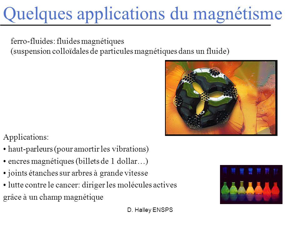 D. Halley ENSPS ferro-fluides: fluides magnétiques (suspension colloïdales de particules magnétiques dans un fluide) Quelques applications du magnétis