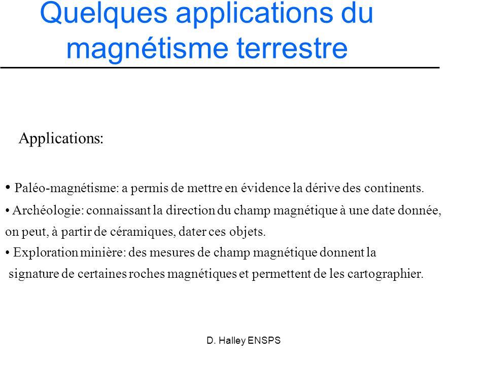 D. Halley ENSPS Paléo-magnétisme: a permis de mettre en évidence la dérive des continents. Archéologie: connaissant la direction du champ magnétique à