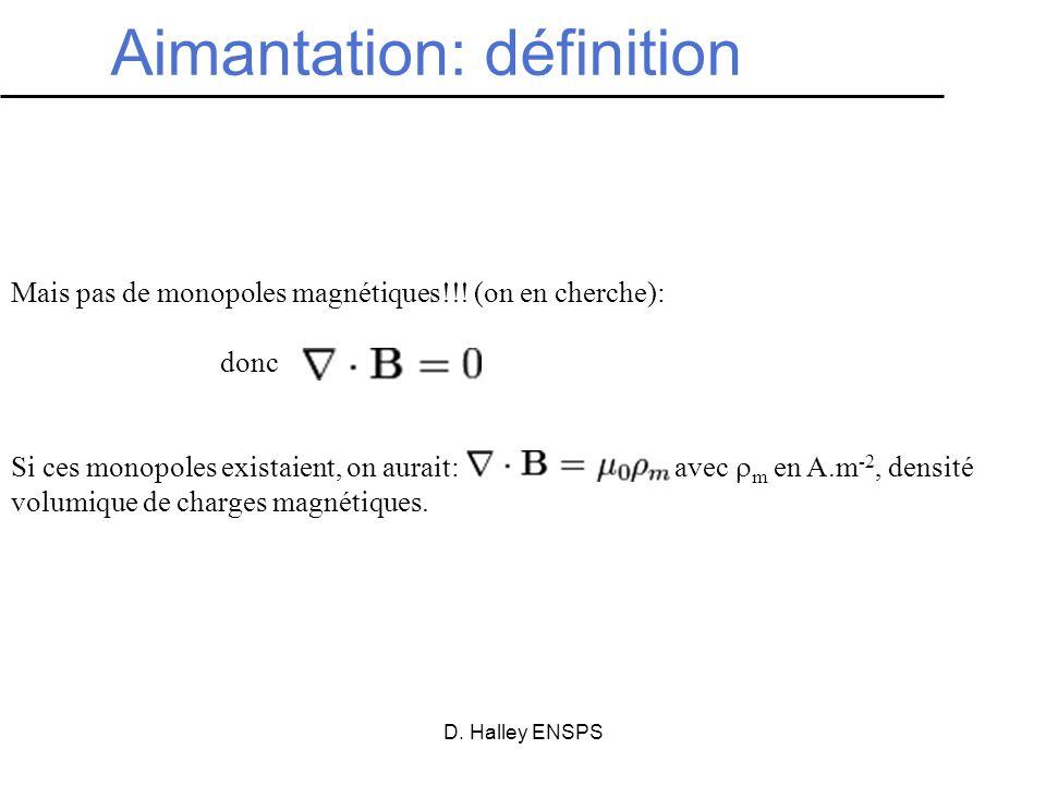 D. Halley ENSPS Aimantation: définition Mais pas de monopoles magnétiques!!! (on en cherche): donc Si ces monopoles existaient, on aurait: avec m en A