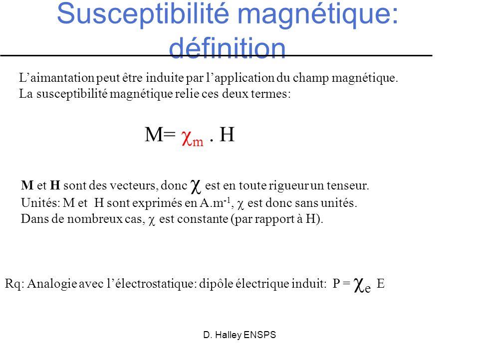 D. Halley ENSPS Susceptibilité magnétique: définition M= m. H M et H sont des vecteurs, donc est en toute rigueur un tenseur. Unités: M et H sont expr