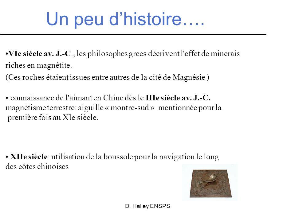D. Halley ENSPS Un peu dhistoire…. VIe siècle av. J.-C., les philosophes grecs décrivent l'effet de minerais riches en magnétite. (Ces roches étaient