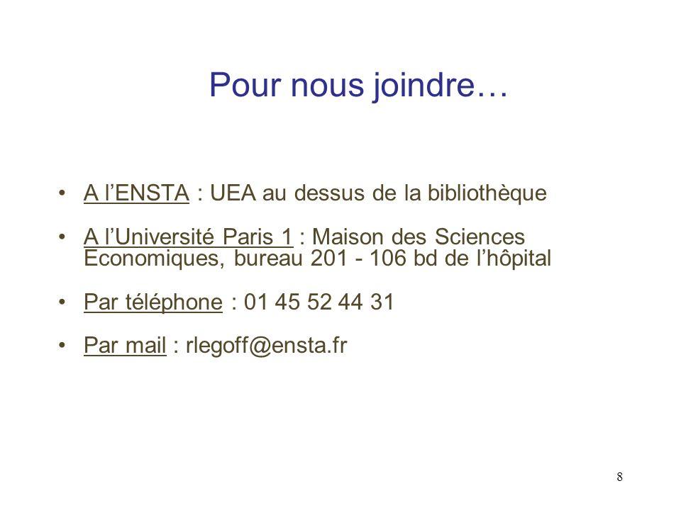 8 Pour nous joindre… A lENSTA : UEA au dessus de la bibliothèque A lUniversité Paris 1 : Maison des Sciences Economiques, bureau 201 - 106 bd de lhôpital Par téléphone : 01 45 52 44 31 Par mail : rlegoff@ensta.fr