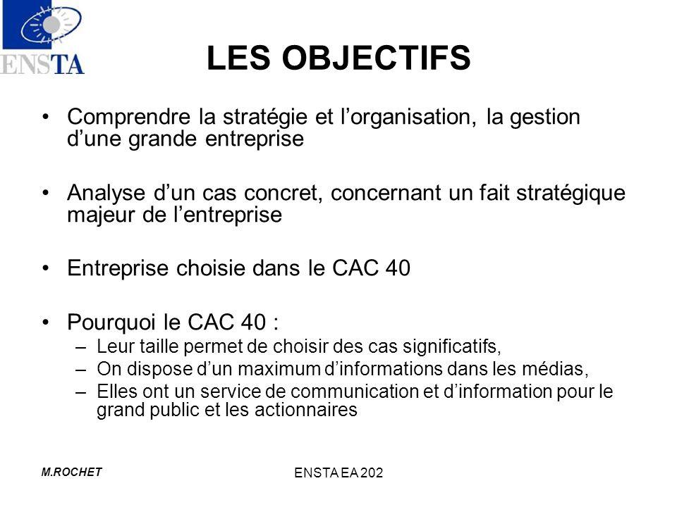 M.ROCHET ENSTA EA 202 LES OBJECTIFS Comprendre la stratégie et lorganisation, la gestion dune grande entreprise Analyse dun cas concret, concernant un