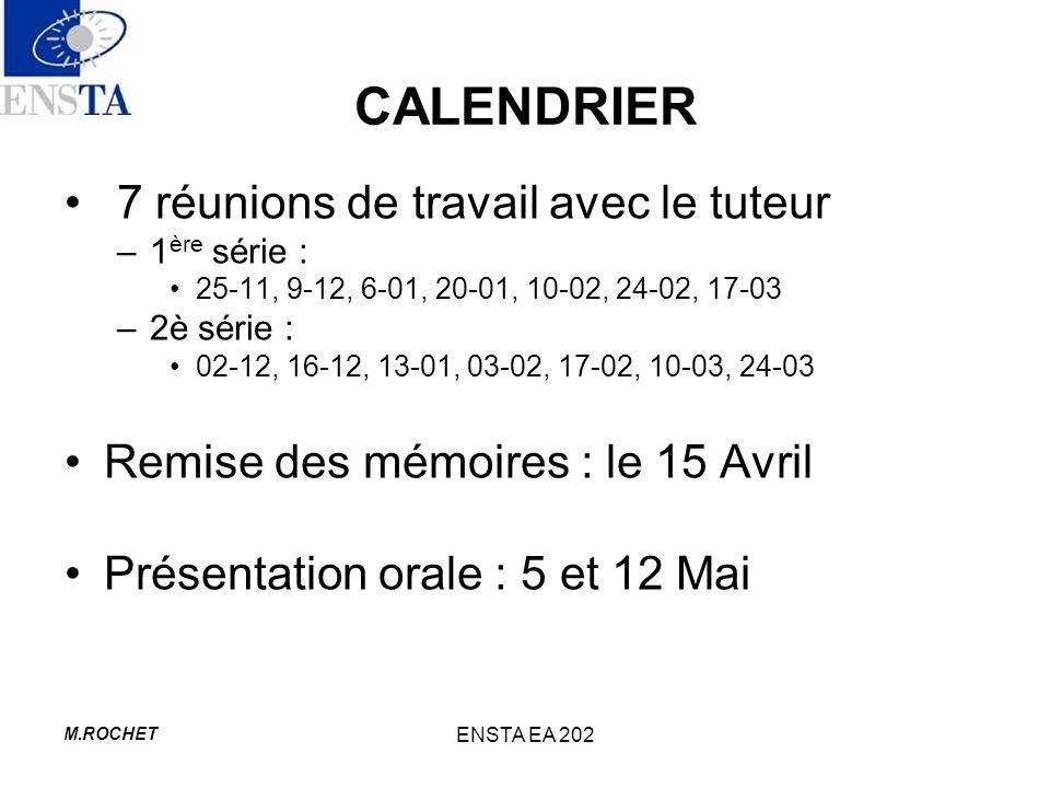 M.ROCHET ENSTA EA 202 CALENDRIER 7 réunions de travail avec le tuteur –1 ère série : 25-11, 9-12, 6-01, 20-01, 10-02, 24-02, 17-03 –2è série : 02-12,