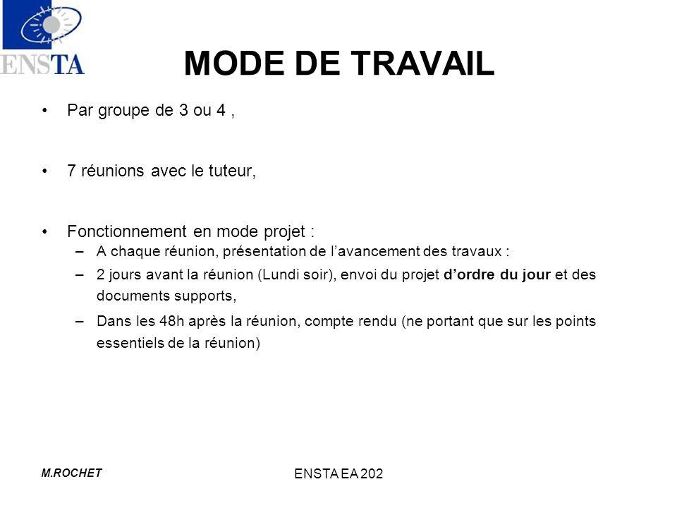 M.ROCHET ENSTA EA 202 MODE DE TRAVAIL Par groupe de 3 ou 4, 7 réunions avec le tuteur, Fonctionnement en mode projet : –A chaque réunion, présentation