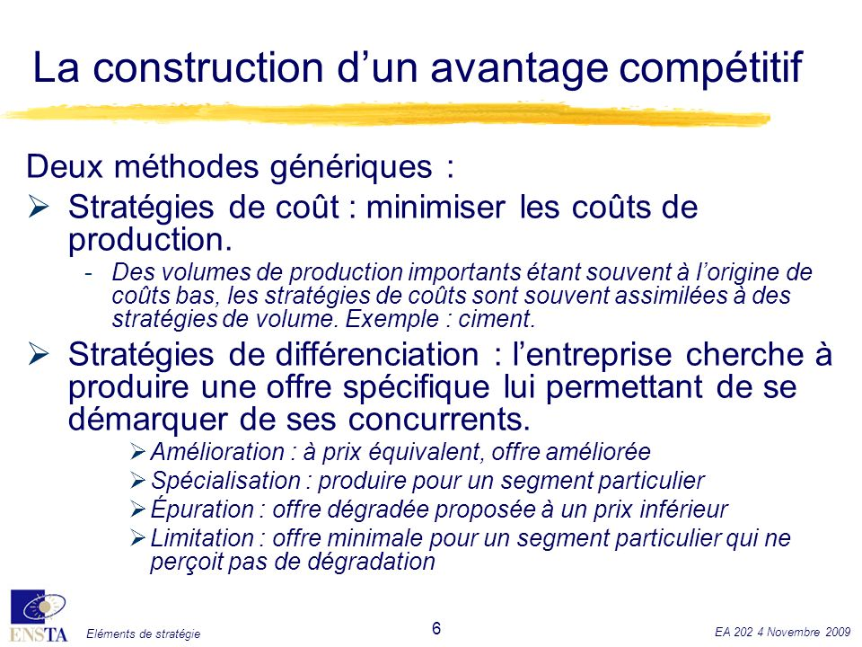 Eléments de stratégie EA 202 4 Novembre 2009 7 La construction dun avantage compétitif ForteFragmentationSpécialisation FaibleImpasseVolume FaibleForte Sensibilité au volume Sensibilité à la différenciation