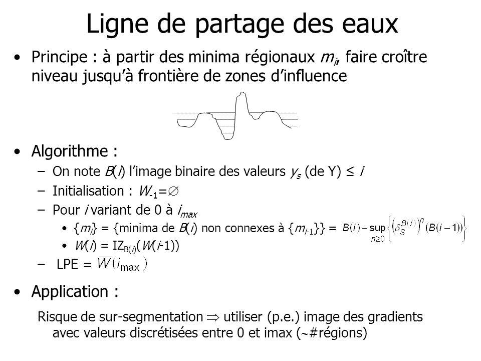Ligne de partage des eaux Principe : à partir des minima régionaux m i, faire croître niveau jusquà frontière de zones dinfluence Algorithme : –On not