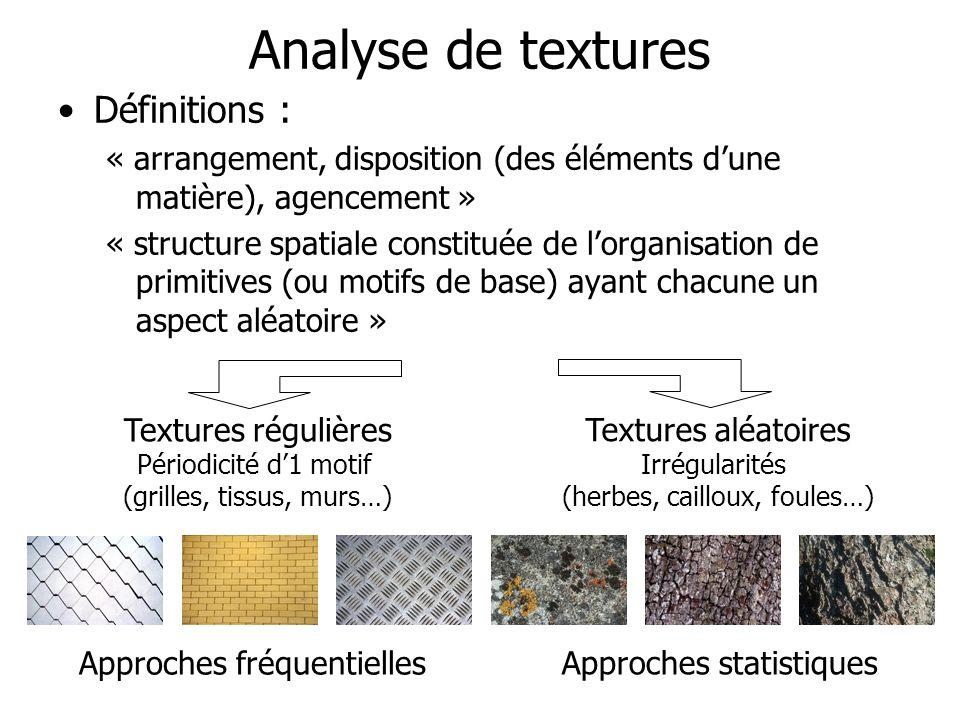 Analyse de textures Définitions : « arrangement, disposition (des éléments dune matière), agencement » « structure spatiale constituée de lorganisatio