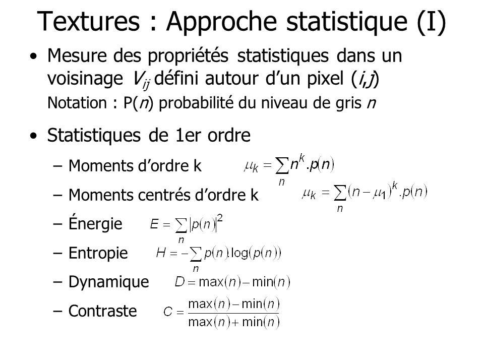 Textures : Approche statistique (I) Mesure des propriétés statistiques dans un voisinage V ij défini autour dun pixel (i,j) Notation : P(n) probabilit