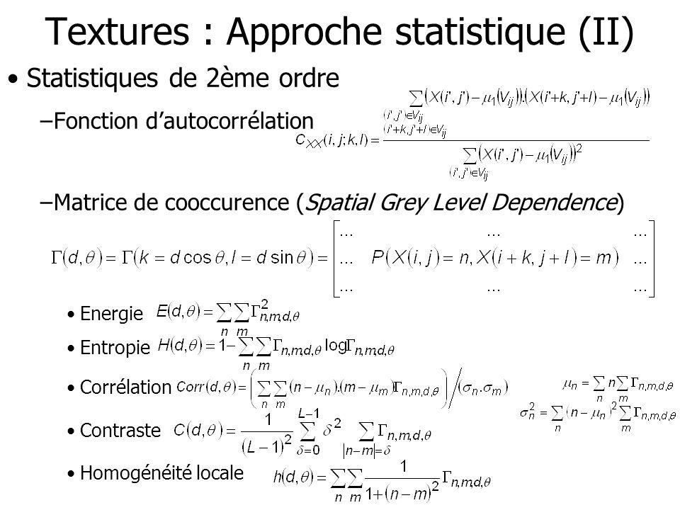 Textures : Approche statistique (II) Statistiques de 2ème ordre –Fonction dautocorrélation –Matrice de cooccurence (Spatial Grey Level Dependence) Ene