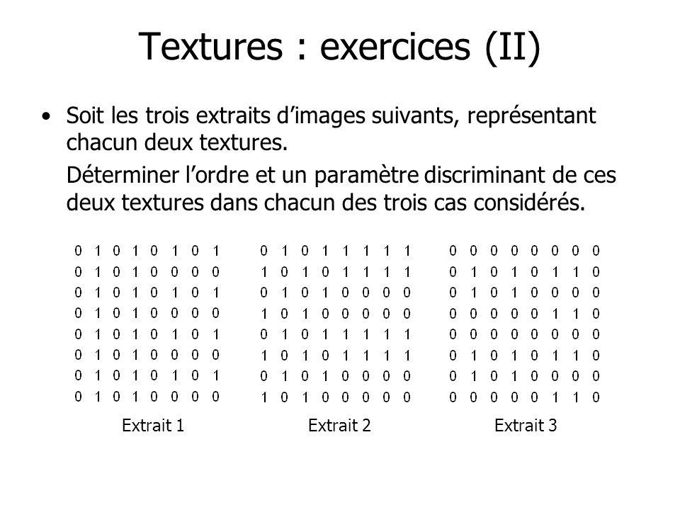 Textures : exercices (II) Soit les trois extraits dimages suivants, représentant chacun deux textures. Déterminer lordre et un paramètre discriminant
