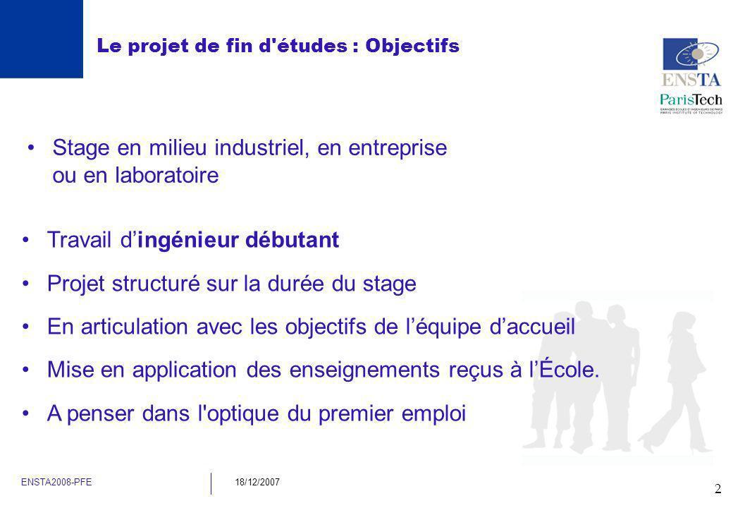 2 ENSTA2008-PFE18/12/2007 Le projet de fin d'études : Objectifs Travail dingénieur débutant Projet structuré sur la durée du stage En articulation ave