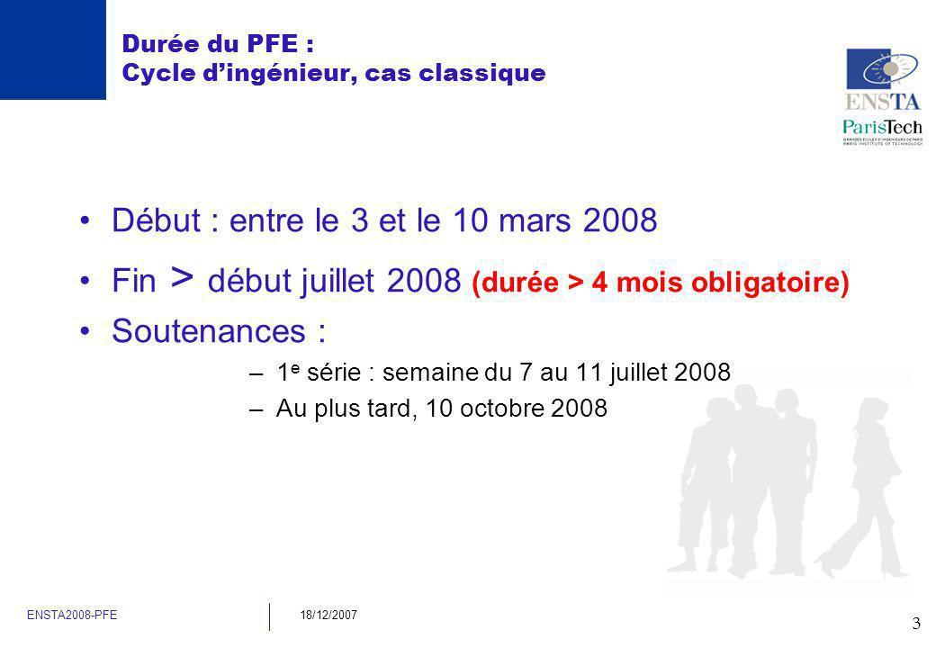 3 ENSTA2008-PFE18/12/2007 Durée du PFE : Cycle dingénieur, cas classique Début : entre le 3 et le 10 mars 2008 Fin > début juillet 2008 (durée > 4 moi