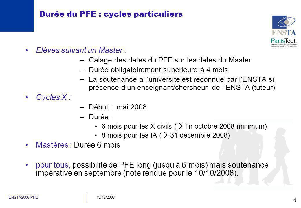 4 ENSTA2008-PFE18/12/2007 Durée du PFE : cycles particuliers Elèves suivant un Master : –Calage des dates du PFE sur les dates du Master –Durée obliga