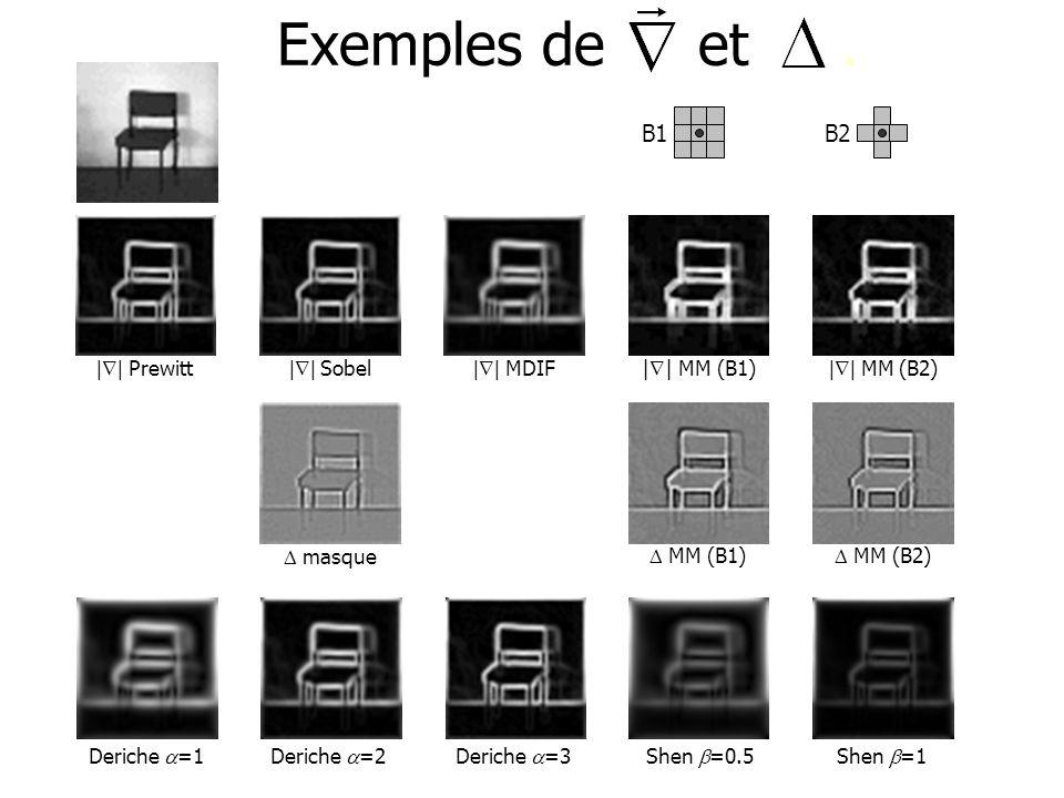 Exemples de et. B1     MM (B1) B2     MM (B2)     Prewitt     Sobel     MDIF MM (B1) MM (B2) masque Deriche =1 Deriche =2 Deriche =3 Shen =0.5 Shen =1