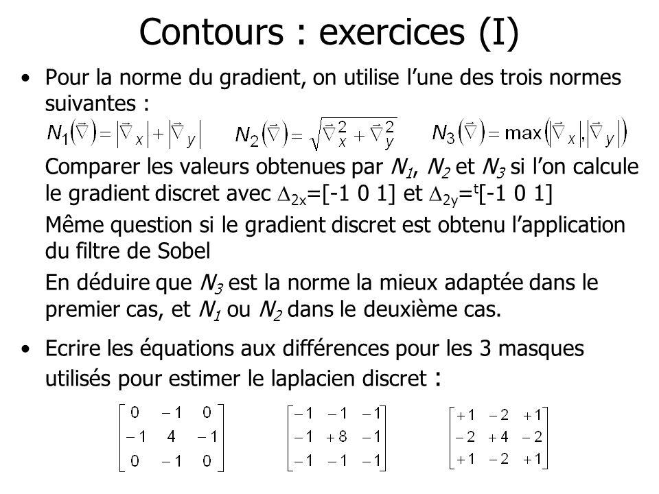 Contours : exercices (I) Pour la norme du gradient, on utilise lune des trois normes suivantes : Comparer les valeurs obtenues par N 1, N 2 et N 3 si