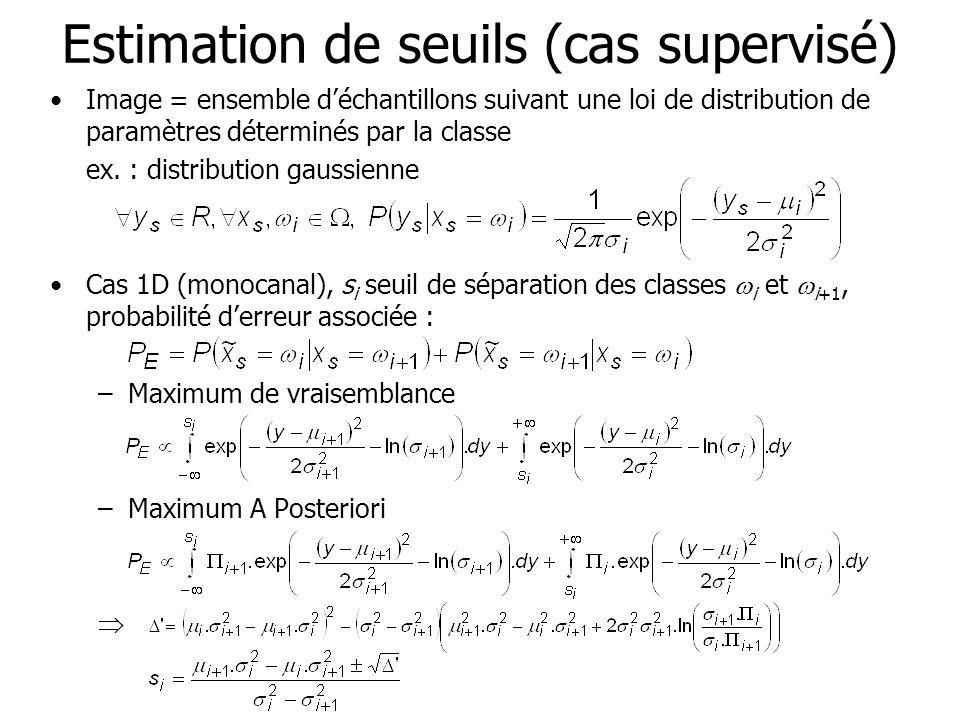 Estimation de seuils (cas supervisé) Image = ensemble déchantillons suivant une loi de distribution de paramètres déterminés par la classe ex. : distr