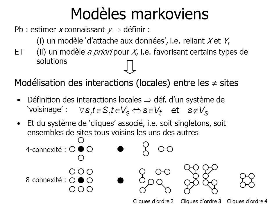 Modèles markoviens Pb : estimer x connaissant y définir : (i) un modèle dattache aux données, i.e. reliant X et Y, ET(ii) un modèle a priori pour X, i