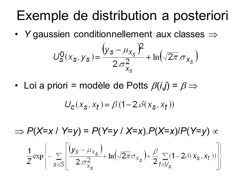 Exemple de distribution a posteriori Y gaussien conditionnellement aux classes Loi a priori = modèle de Potts (i,j) = P(X=x / Y=y) = P(Y=y / X=x).P(X=x)/P(Y=y)