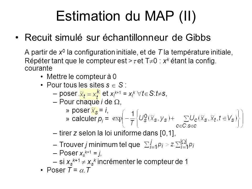 Estimation du MAP (II) Recuit simulé sur échantillonneur de Gibbs A partir de x 0 la configuration initiale, et de T la température initiale, Répéter
